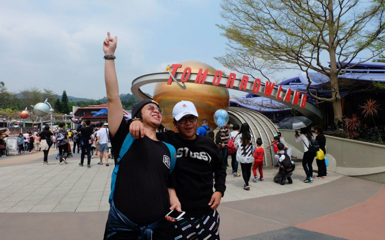 My two little brothers at Hong Kong Disneyland